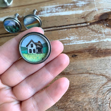 Load image into Gallery viewer, Set of 4 Original Hand Painted Drawer Pulls / Cabinet Knobs, Watercolor Landscape Paintings