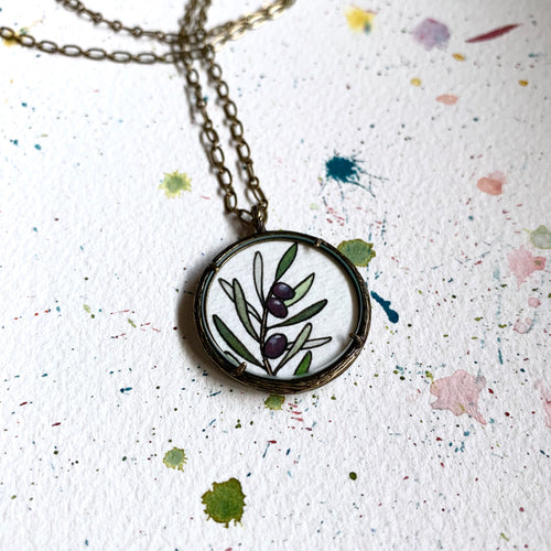 Olive Branch - Hand Painted Necklace - Original Watercolor Painting