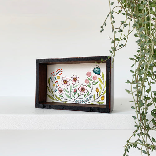SALE Vintage Floral Garden, Pink Blossoms, Original Watercolor Box Painting
