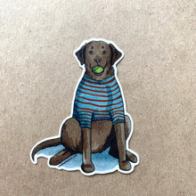 Load image into Gallery viewer, Chocolate Lab Dog Vinyl Stickers, 3 inch, Doggos Sticker, FREE SHIPPING