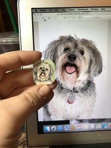A Custom Dog Portrait Hand Painted Necklace, Original Watercolor Pet Portrait Painting by Heather Kent