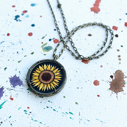 Sunflower Original Hand Painted Necklace
