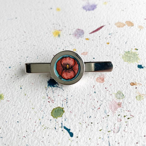 Poppy Love Tie Clip, Original Hand Painted Tie Clip, unique gifts for men