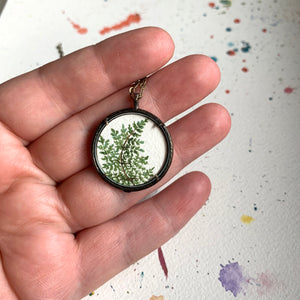 Fern Pendant - Hand Painted Necklace - Original Watercolor Painting