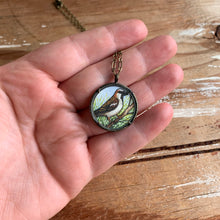 Load image into Gallery viewer, Sparrow Necklace, Watercolor Hand Painted Necklace, Original Art Pendant