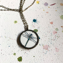 Load image into Gallery viewer, Dragonfly Watercolor Hand Painted Necklace, Original Art Pendant, Special Gifts for Her