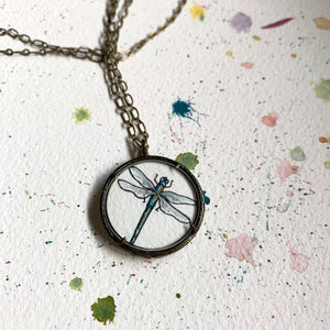 Dragonfly Watercolor Hand Painted Necklace, Original Art Pendant, Special Gifts for Her