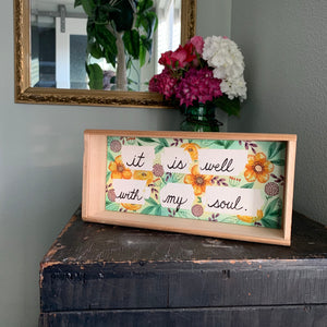 SALE It Is Well With My Soul, Hymn Wall Art - Yellow Flowers, Original Watercolor Box Painting, Heart & Soul