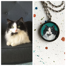 Load image into Gallery viewer, A Custom Cat Portrait Hand Painted Necklace, Original Watercolor Pet Portrait Painting by Heather Kent