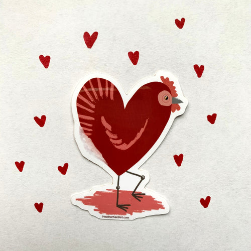 Chicken Love, Red Heart Chicken Vinyl Sticker, 3 inch, Valentines Day - Free Shipping