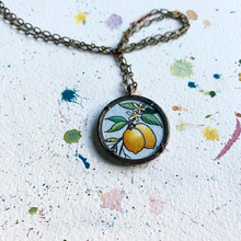 Load image into Gallery viewer, Lemons on a Branch Necklace, Original Watercolor Hand Painted Necklace, Culinary Gift, Chef Gift