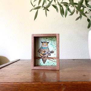 "Owl Playing Mandolin -  Box Painting, Original Watercolor Painting, ""Animals Doing Things"""