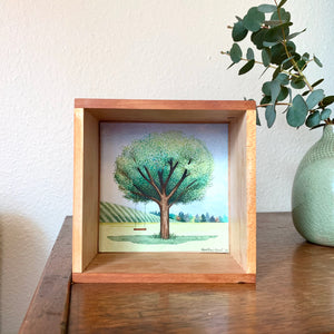 Tree with Red Swing - Original Watercolor Box Painting, Trees Collection