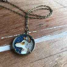Load image into Gallery viewer, Wolf Painting, Watercolor Hand Painted Necklace with Gold Leaf, Original Art Pendant