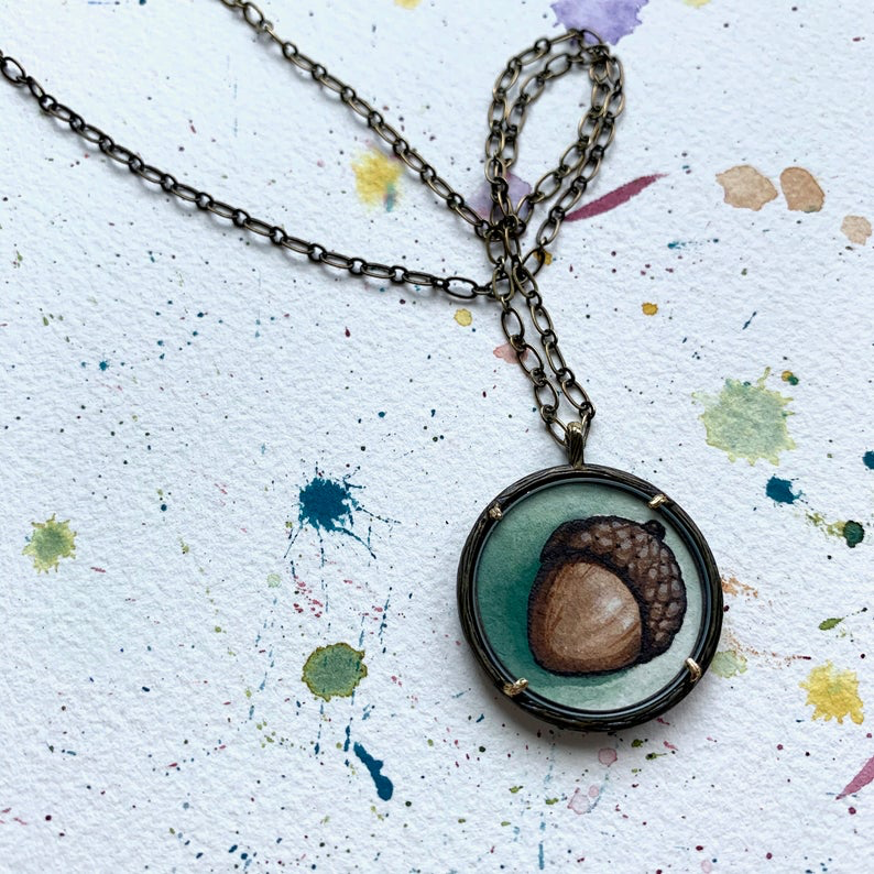Acorn Necklace, Hand Painted Necklace, Original Watercolor Painting, Acorn Charm