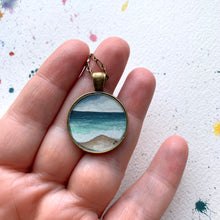 Load image into Gallery viewer, Ocean Jewelry - Beach Painting, Round Original Watercolor Hand Painted Necklace Pendant, Gifts for Beach Lovers