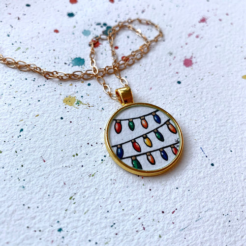 Christmas Lights Pendant - Christmas Hand Painted Necklace, Festive Gold Original Art Pendant
