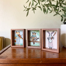 "Load image into Gallery viewer, Bunny Playing Banjo -  Box Painting, Original Watercolor Painting, ""Animals Doing Things"""
