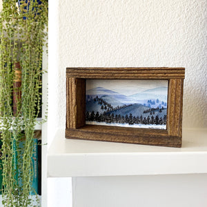 1. Cold Mountains - Original Watercolor Box Painting, Landscape Art