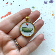 Load image into Gallery viewer, Pickle Love Pendant, Original Watercolor Hand Painted Necklace