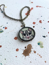 Load image into Gallery viewer, Sugar Glider Pendant Necklace, Original Hand Painted Necklace, Sugar Glider Illustration