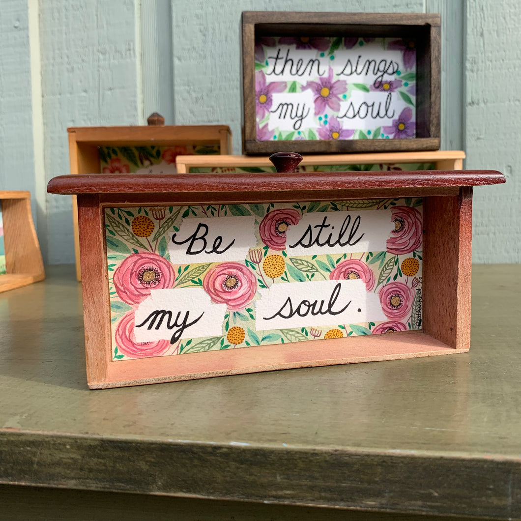Be Still My Soul, Pink Flowers Watercolor Art, Original Watercolor Box Painting, Heart & Soul