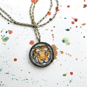 Tiger Face, Original Hand Painted Necklace, Tiger Art