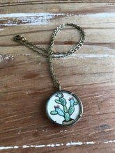 Load image into Gallery viewer, Cactus Painting, Prickly Pear Hand Painted Necklace, Original Watercolor Painting