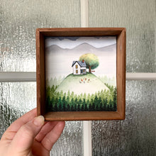 Load image into Gallery viewer, The House on a Hill, Original Watercolor Painting, Signature Box Painting - Cozy Houses