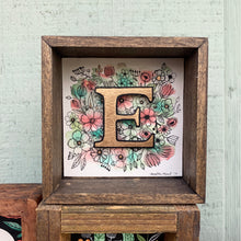 Load image into Gallery viewer, SALE E - Floral Monogram gold Letter E with vintage flowers, Original Watercolor Box Painting