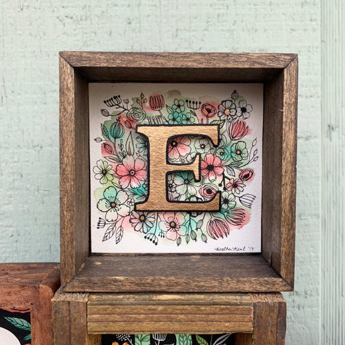 E - Floral Monogram gold Letter E with vintage flowers, Original Watercolor Box Painting