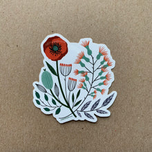 Load image into Gallery viewer, Vintage Florals, Red Poppy, Vinyl Sticker, 3 inch, FREE SHIPPING