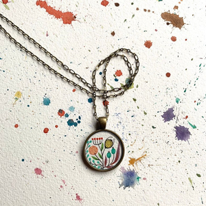 Vintage Florals,  Hand Painted Necklace, Wildflower Garden, Original Watercolor Painting