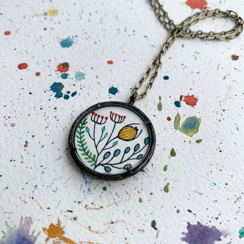 Hand Painted Necklace Inspired by Vintage Floral Fabric, Original Watercolor Painting