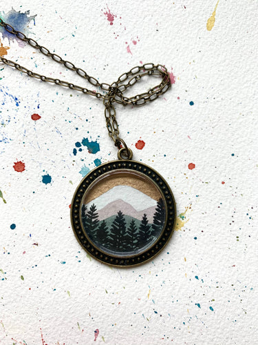 Mountain Landscape with Gold Sky, Hand Painted Necklace, Original Watercolor Art Pendant - Willamette Valley Oregon