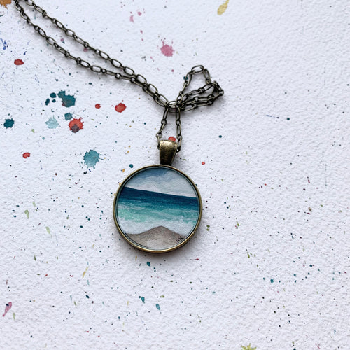Ocean Jewelry - Beach Painting, Round Original Watercolor Hand Painted Necklace Pendant, Gifts for Beach Lovers