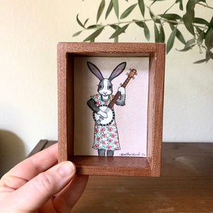 "Bunny Playing Banjo -  Box Painting, Original Watercolor Painting, ""Animals Doing Things"""