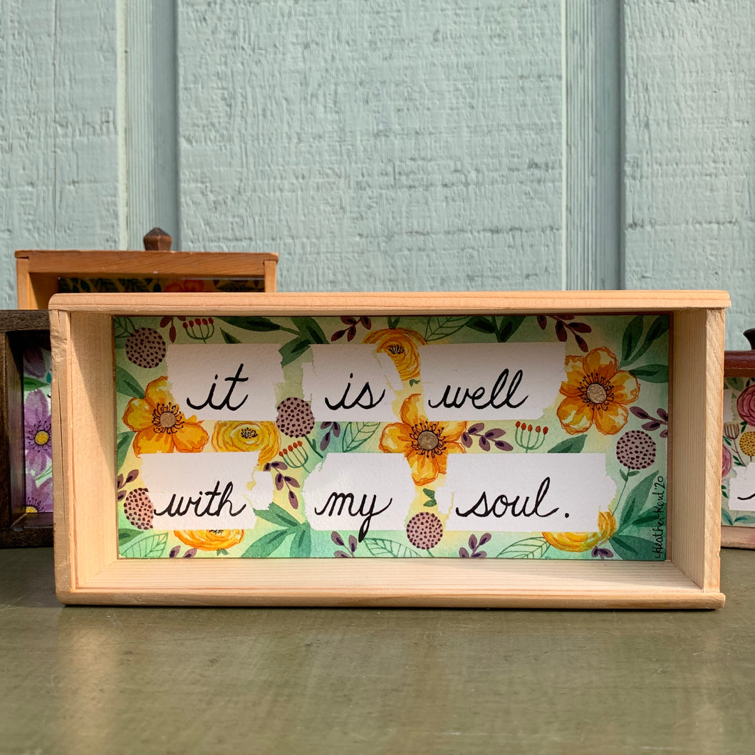 It Is Well With My Soul, Hymn Wall Art - Yellow Flowers, Original Watercolor Box Painting, Heart & Soul