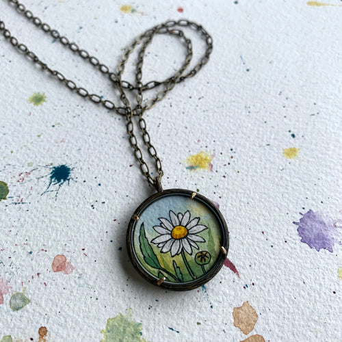 Daisy Necklace, Hand Painted Pendant, Original Daisies Painting, Small art