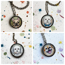 Load image into Gallery viewer, A Custom Dog Portrait Hand Painted Necklace, Original Watercolor Pet Portrait Painting by Heather Kent