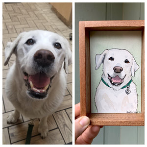CUSTOM Original Watercolor Box Painting, Pet Portrait, Dog Portrait
