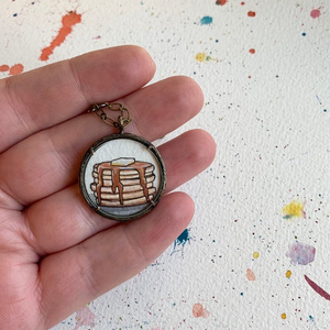 Pancakes Art, Original Watercolor Hand Painted Necklace, Stack of Pancakes