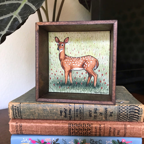 SALE Doe a Deer - Original Watercolor Box Painting