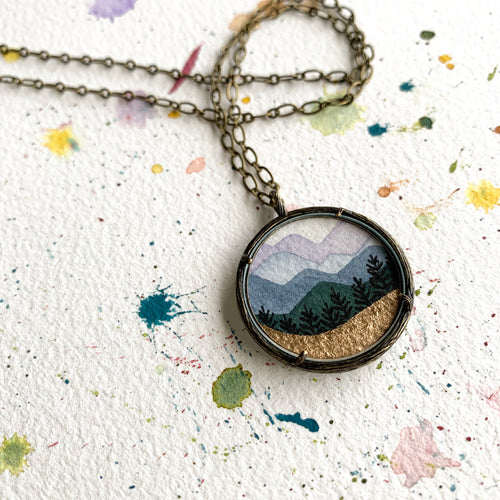 Golden Mountain Landscape, Watercolor Landscape Hand Painted Necklace, Original Art Pendant with Gold Foil