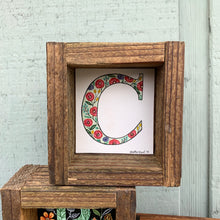 Load image into Gallery viewer, C - Floral Monogram Letter C with vintage florals, Original Watercolor Box Painting