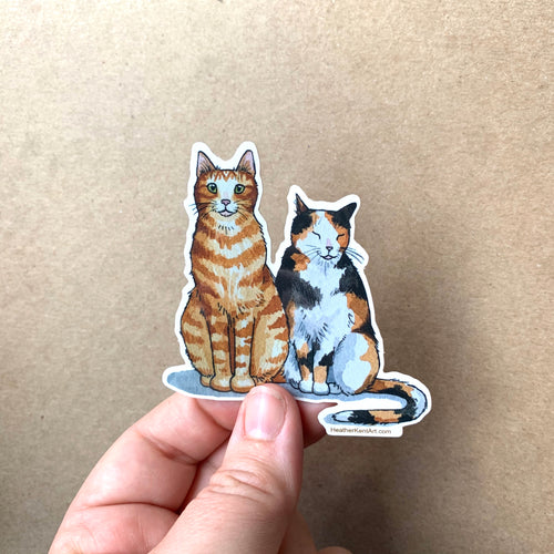 Cat Couple Vinyl Decal Sticker, 3 inch, FREE SHIPPING