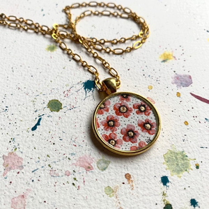 Gold and Pink Flowers, Hand Painted Necklace, Inspired by Vintage Floral Fabric, Original Watercolor Painting in a Gold Pendant
