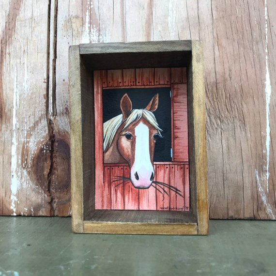 SALE Horse in Stable, Box Painting - Original Watercolor Painting in a Box, Shadowbox