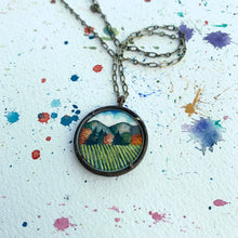 Load image into Gallery viewer, Vineyard Landscape Hand Painted Necklace, Original Watercolor Art Pendant - Willamette Valley Oregon
