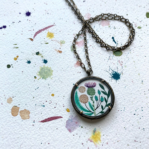 Thistle Pendant -  Vintage Florals,  Hand Painted Necklace, Wildflower Garden, Original Watercolor Painting